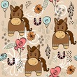 babies hand draw seamless pattern with horse