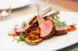 Grilled rack of lamb with vegetables