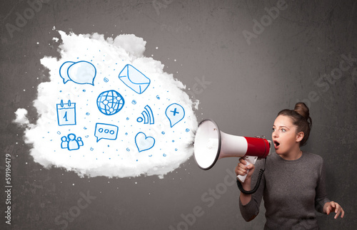 Woman shouting into loudspeaker and modern blue icons and symbol