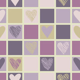 Seamless geometric pattern with hearts.