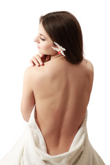 beautiful lady with white towel on white background.