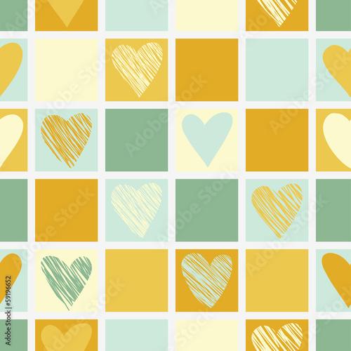 Fototapeta Seamless geometric pattern with hearts.