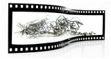 Metal Swarf film strip isolated on white background