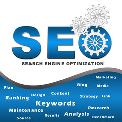 Seo with Gears and Keywords Square