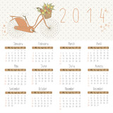 Vector calendar for 2014. Calendar with romantic bike.