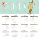 Vector calendar for 2014. Calendar with cute horse.