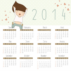 Vector calendar for 2014. Calendar with cheerful girl.