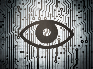 Privacy concept: circuit board with Eye