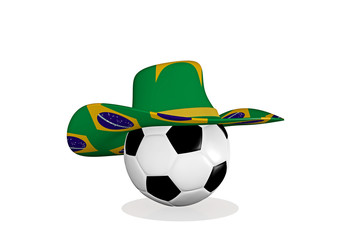 hat with brazil flag on a football