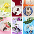 Collage of different table setting