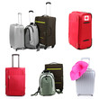 Collage of luggage for travel
