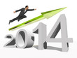 Conceptual  2014 year with 3D business man flying