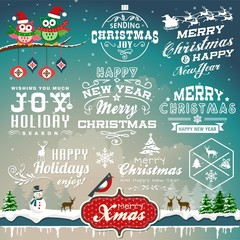 Christmas design with labels, symbols and icons elements set