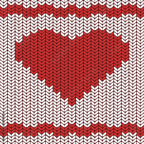 Seamless vector pattern with a big red heart