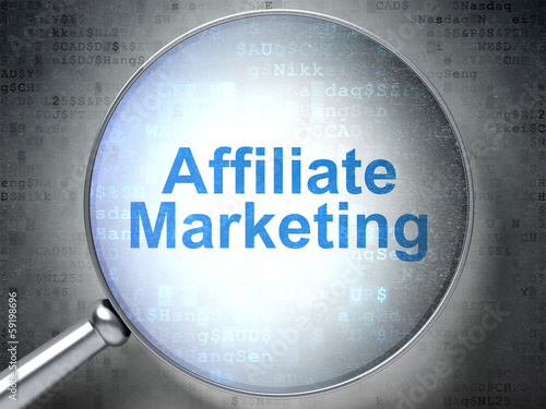 Finance concept: Affiliate Marketing with optical glass