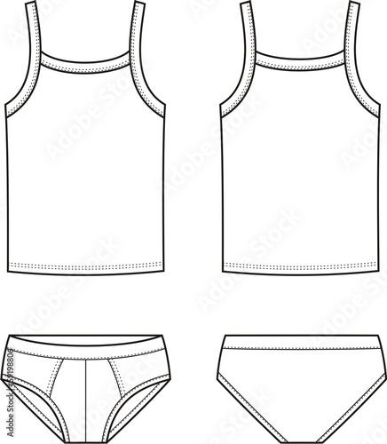 Vector illustration of men's underwear. Singlet and pants - 59198806