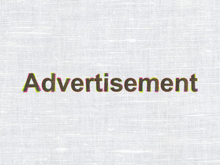 Marketing concept: Advertisement on fabric texture background