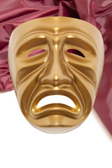 Golden dramatic  theatrical mask