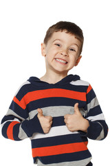 Little boy is happy and showing thumbs up