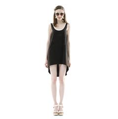 Caucasian young stylish woman model in black dress
