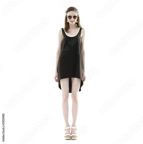 Caucasian young stylish woman model in black dress