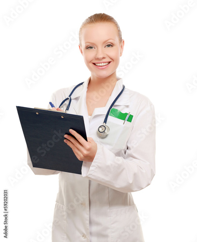 Portrait of young doctor or medic with clipboard