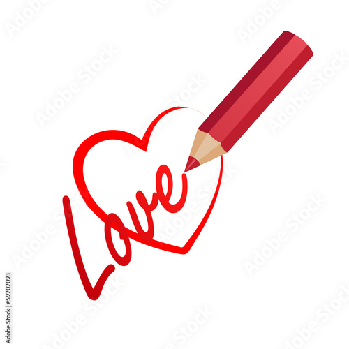 red pencil draws a heart