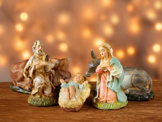 Nativity scene, the Holy family in warm golden light