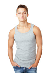 Portrait of young man wearing t-shirt