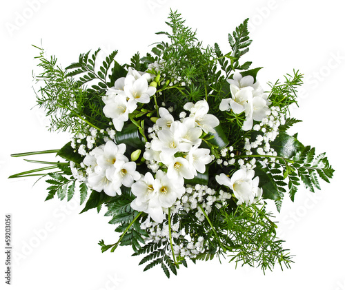 white freesia bouquet isolated on white background