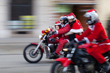 the parade of Santa Clauses on motorcycles in Cracow