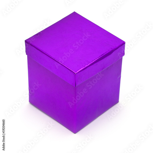 Purple Gift Box isolated on white