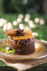 Christmas pudding with orange