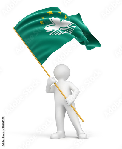 Man and Macau flag (clipping path included)