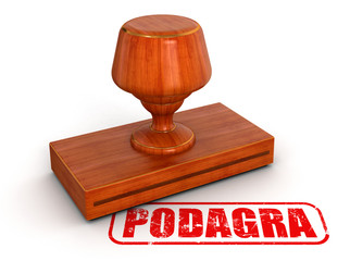 Rubber Stamp podagra (clipping path included)