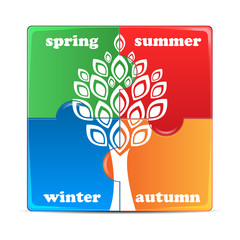 puzzle with the image of seasons.icon times of the year isolated