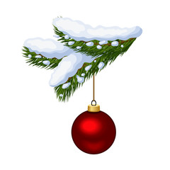 Fir branch with Christmas ball. Vector illustration.