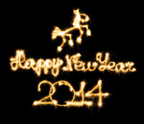 Happy New Year - 2014 and horse made a sparkler