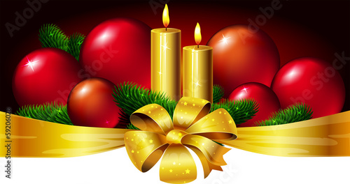 Christmas horizontal design with candle, xmas ball and bow