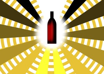 reticolo con bottiglia di vino