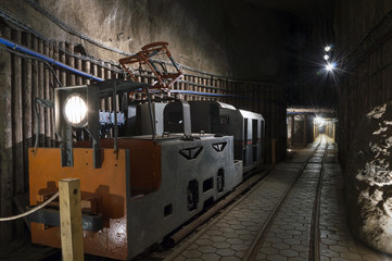 Underground tunnel and machine in the Salt Mine