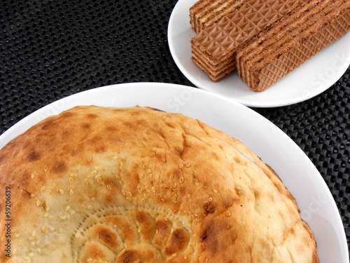 cake and waffle on white plate