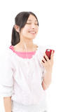 young asian woman using smart phone on white background