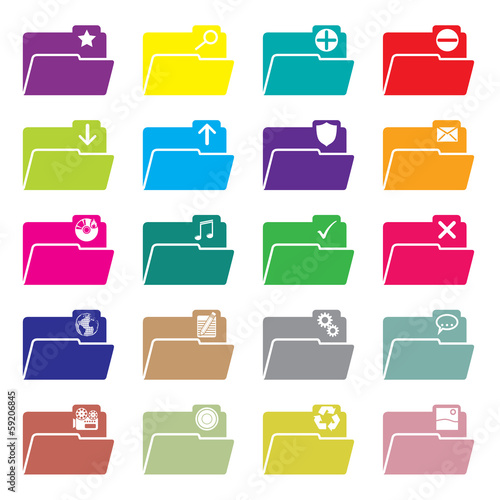 Flat folder icon set of 20