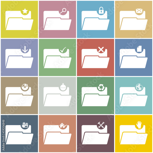 Flat folder icon set with color background