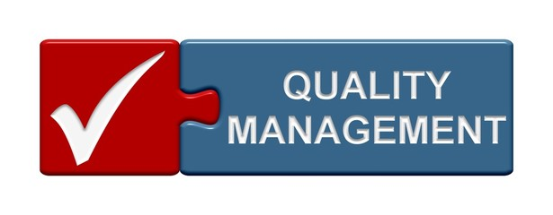 Puzzle-Button rot blau: Quality Management