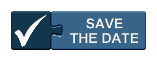 Puzzle-Button blau: Save the date