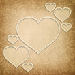 Valentine's Day - hearts on patterned background