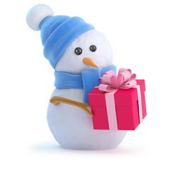 Cute snowman has a gift