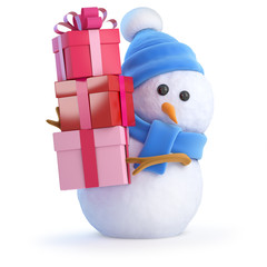 Cute snowman has many gifts
